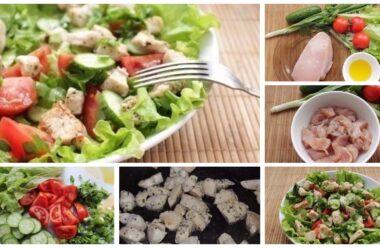 Салат з курки і свіжих овочів. Смачна вечеря за пару хвилин.
