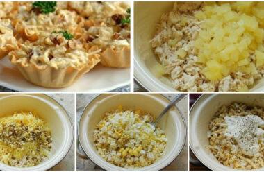 Особливий салат з куркою і ананасом в тарталетках. Завжди смачно та оригінально.