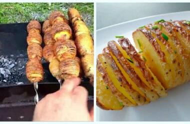 Ароматна печена картопля з цибулею і беконом, страва яку усі готують на природі.