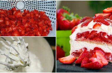 Швидкий і неймовірно смачний літний торт з полуницею і вершками — Неможливо втриматись!