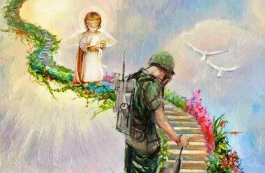 Зустрілись дві душі, Одна – душа солдата Загиблого в бою, А інша – немовляти, Народжена в Раю.