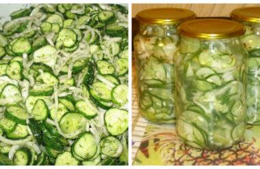 Неймовірно смачний салат з огірків на зиму. Відкрив банку і закуска готова. Зручно і смачно.