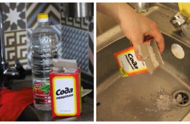 Швидкий спосіб прочистити раковину за допомогою соди і оцту. Господиням на замітку.