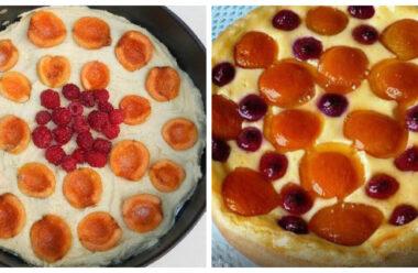 Літній ніжний пиріг з абрикосами та малиною. Зараз усі готують саме його