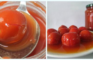 Помідори у томатній пасті на зиму. Неймовірно просто і смачно. Збережіть у скарбничку рецептів.