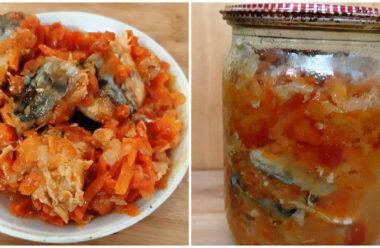 Скумбрія консервована з овочами в банці. На закуску смачніше і не придумаєш