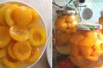 Консервовані персики половинками. Вони дуже смачні, ароматні та корисні