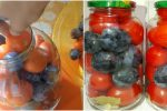 Консервовані помідори з синіми сливами. Не рецепт, а просто знахідка