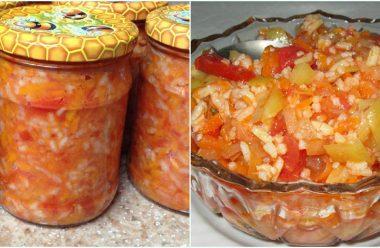Рисовий салат з овочами на зиму. Відкрила баночку, і смачна страва готова