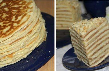 Торт «Хвилинка» на сковороді, зі згущеного молока. Виходить такий ніжний, що просто тане в роті