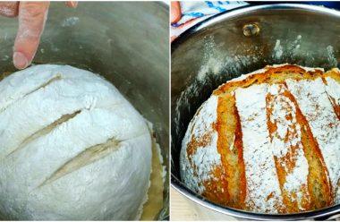 Домашній хліб без замішування тіста. Виходить дуже смачний та не потребує багато зусиль
