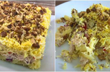 Салат «9 шарів насолоди», має апетитний вигляд та гарний смак