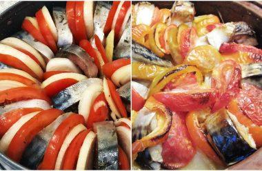 Скумбрія з овочевим гарніром запечена в духовці. Такої смакоти ви ще не їли