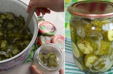 Цікавий та дуже смачний салат з огірків на зиму. Його завжди з'їдають першим