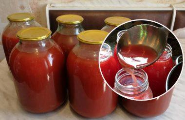 Натуральний та дуже смачний томатний сік по-домашньому. Встигніть запастися на зиму